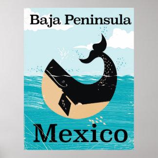 affiche de voyage du Mexique de péninsule de baja Poster