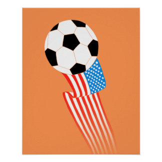 Affiche du football : Les Etats-Unis oranges