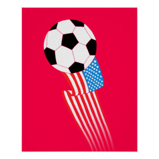 Affiche du football : Les Etats-Unis rouges