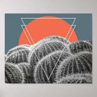 Affiche du sud-ouest abstraite des cactus de baril