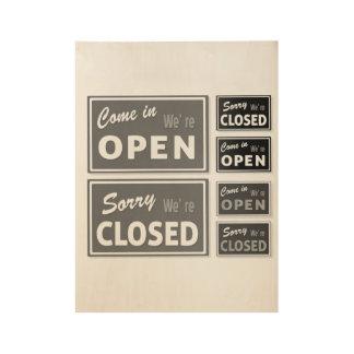 Affiche en bois : Ouvrez/avez fermé les signes