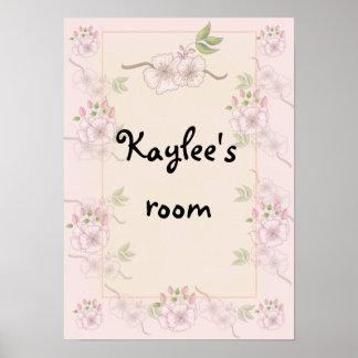 Affiche florale de la crèche ou de la chambre à co