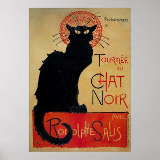 Affiche française vintage, le chat noir