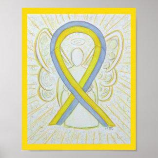 Affiche grise et jaune d'ange de ruban de poster