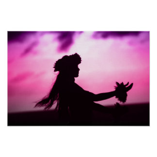 Affiche hawaïenne pourpre et rose