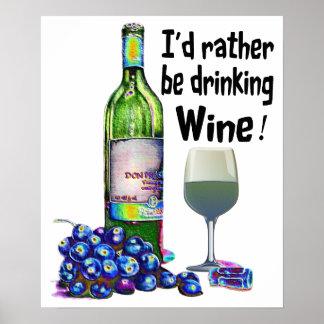 Affiche humoristique d'art de vin