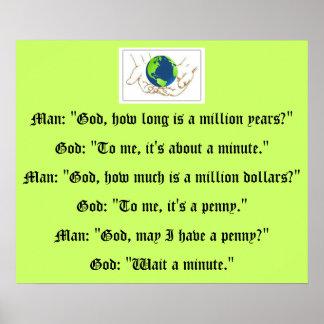 Affiche humoristique de conversation de Dieu et d'