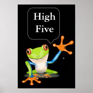 Affiche humoristique de la haute grenouille cinq poster