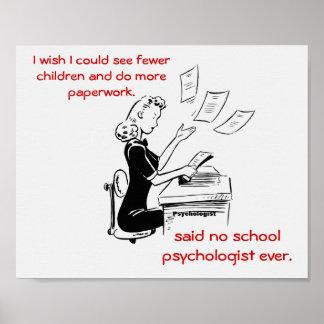 Affiche humoristique de psychologue d école