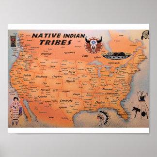 Affiche indienne indigène de carte de tribus