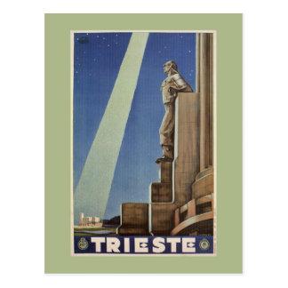 Affiche italienne de voyage de Trieste d'art déco Carte Postale