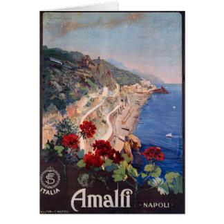 Affiche italienne vintage de voyage d'Amalfi Carte