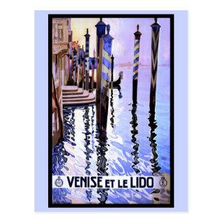 Affiche italienne vintage de voyage de Venise et Carte Postale