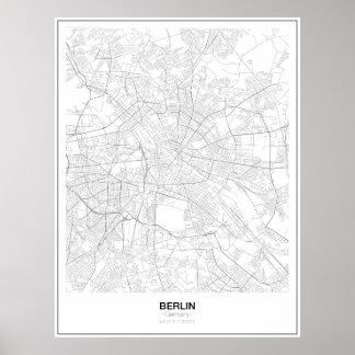 Affiche minimaliste de carte de Berlin, Allemagne