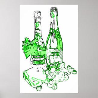Affiche moderne d'art de Champagne