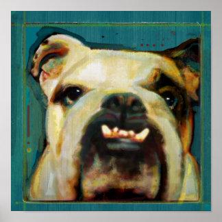 Affiche moderne d'art de chien de bouledogue
