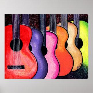 Affiche multicolore de guitares par Loni
