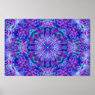 Affiche pourpre et bleue de kaléidoscope poster