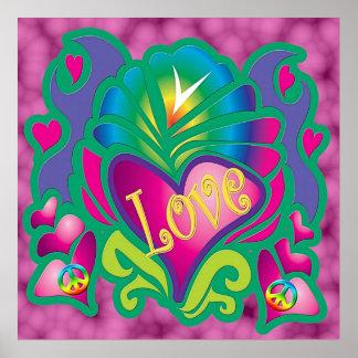 Affiche psychédélique d'amour