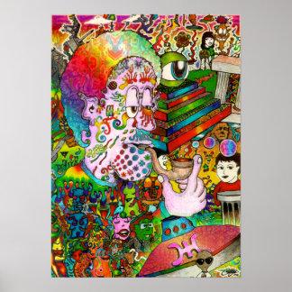 Affiche psychédélique d'art d'accidents de Hangthi