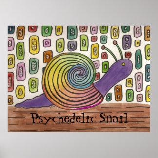 Affiche psychédélique d'art d'escargot
