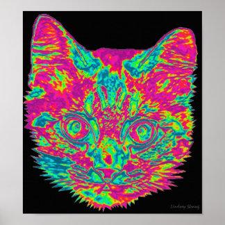 Affiche psychédélique de chat