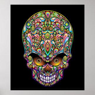 Affiche psychédélique de conception d art de crâne