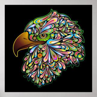 Affiche psychédélique de conception de faucon d Ea