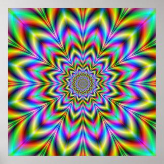 Affiche psychédélique de fleur