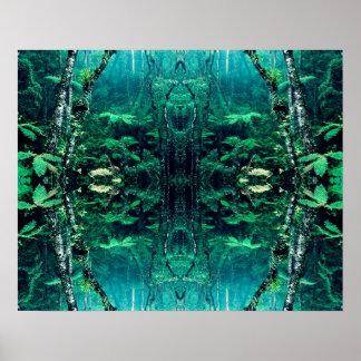 Affiche psychédélique de forêt tropicale