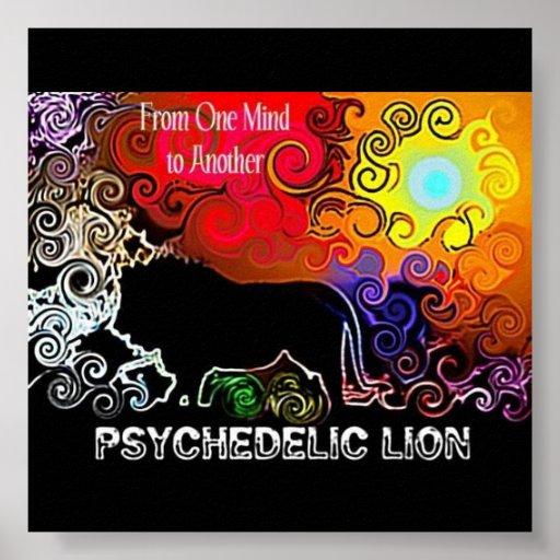 Affiche psychédélique de lion