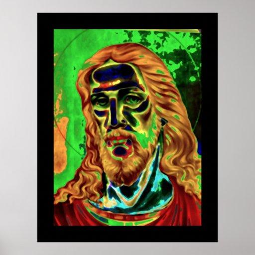 Affiche psychédélique de Nouveau d'art de Jésus