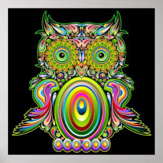Affiche psychédélique de Popart de hibou