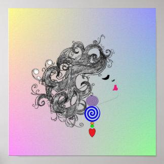 Affiche psychédélique de rétro de cheveux concepti
