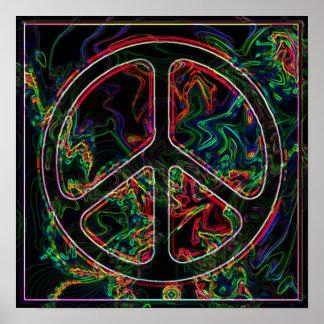 affiche psychédélique de signe de paix