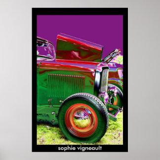 affiche psychédélique de voiture vintage