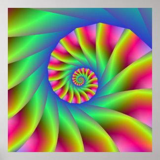 Affiche psychédélique d'étapes en spirale