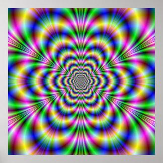 Affiche psychédélique d'hexagone
