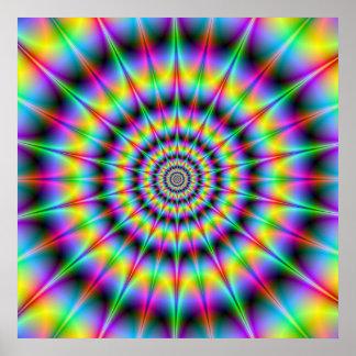 Affiche psychédélique pointue d'anneaux