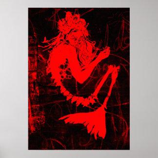 Affiche rouge de squelette de sirène