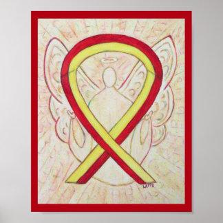 Affiche rouge et jaune d'ange de ruban de poster