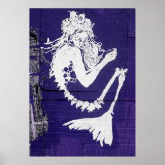 Affiche squelettique d'art abstrait de sirène