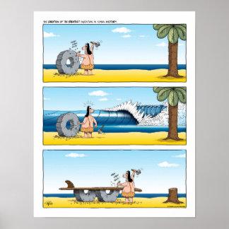 Affiche surfante de bande dessinée humoristique
