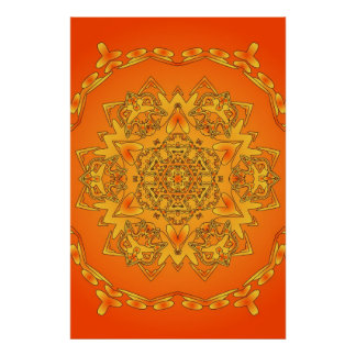 Affiche Trippy : Illustration hexagonale psychédél