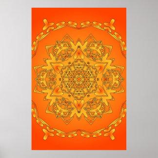 Affiche Trippy Illustration hexagonale psychédél