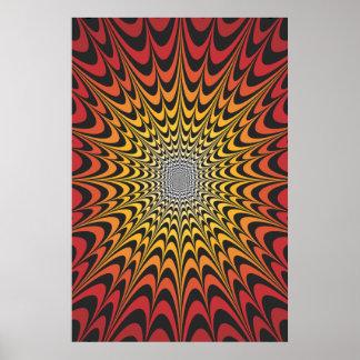 Affiche Trippy : Illustration radiale psychédéliqu