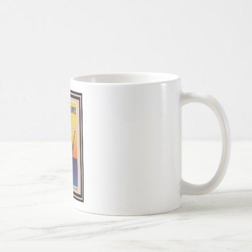 Affiche vintage 45 de voyage mugs à café