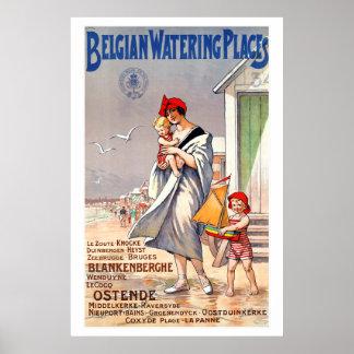 Affiche vintage belge de voyage d'endroits