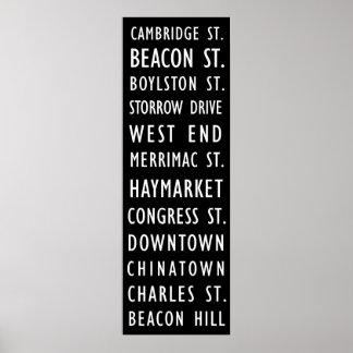 Affiche vintage de rouleau de transit de Boston