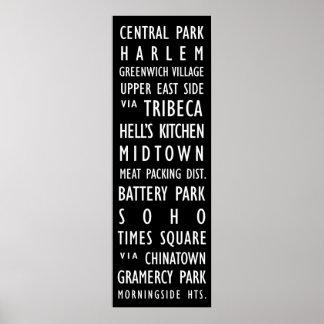 Affiche vintage de rouleau de transit de New York